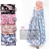Gamis Katun Jepang Longdress Baju Muslim Wanita FLOWING ROSEA Maxi