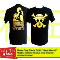 Kaos Lambang Bajak Laut One Piece Gold Metalik