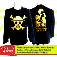 Kaos Lambang Bajak Laut One Piece Gold Metalik L.Panjang
