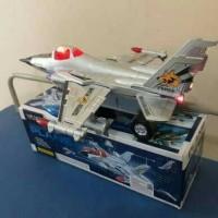 mainan jet tempur bump & go - pesawat perang baterai - anak edukatif