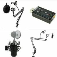 BM-8000 + Stand + holder mic, holder mic + pop filter