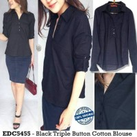 Baju Branded Murah Esprit Black Triple Button Cotton Blouse Ori Prem