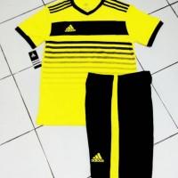 Setelan Futsal Adidas kuning Garis Hitam