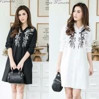 [dress flower blackwhite RO] dress wanita katun rayon hitam dan putih