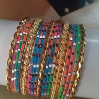 Gelang Fashion Kombinasi Multicolor Mas / Silver