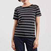 baju atasan cewek kaos wanita strip garis hitam putih clo060