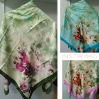 Jual Segi empat satin velvet motif bunga vintage Murah