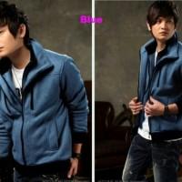 Jual Jaket Double Zipper Blue/Jaket Pria Korea Jepang Keren Murah Murah