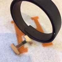 Belt Hermes strap black sz 120cm Gold buckle