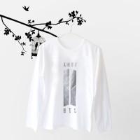 Jual Tumblr Tee / T-Shirt / Kaos Wanita Lengan Panjang BTS ARMY Warna Putih Murah