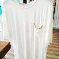 Blouse Korea Pakaian Dress Cotton Sweater Atasan Wanita Flare Sabrina