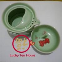 harga Keramik Tea Set Chinese Kungfu Travel Teapot Teacup Hijau Tokopedia.com