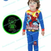 (8-13 Tahun) Piyama Anak Sgw 14f Spiderman Glow In The Dark