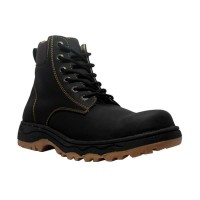 Cut Engineer Safety Boots Stylish Outdoor Leather Hitam Sepatu pria