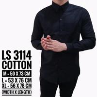 Jual Baju Kemeja Lengan Panjang Casual Pria Hitam Polos Slimfit 3114 Murah