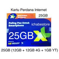Kartu Perdana XL 25gb internet 24jam kuota (12gb + 12GB + 1GB youtube)