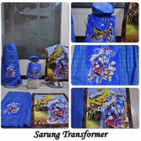 Jual Satu Paket Sarung + Tas + sajadah+ peci Fashion Anak Cowok Biru Kotak Murah
