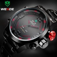 Jual Jam Tangan Pria Weide BLACK Dual Time Zone Original Waterproof Murah