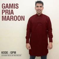 Jual Baju Koko Gamis Pria Eksklusif SlimFit Maroon Murah