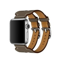 Apple Watch Hermes Double Buckle Cuff Leather Strap For Series 1, 2, 3