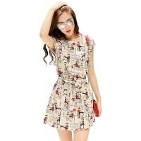 Jual Mini Dress / Dress Korea Lengan Pendek + Ikat Pinggang - JLAQTP01038 Murah