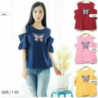 blouse cold shoulder sabrina motif kupu kupu butterfly faith 1 431