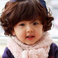 Rambut palsu anak pendek model coklat brown Short curly wig for girls