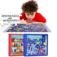 Mainan Anak - Detective Exploration Puzzle with Magnifying Glass