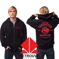 Hoodie Zipper House Targaryen Fire And Blood - Hitam