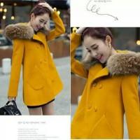 Woolen coat female korean fashion raccoon fur collar autumn winter