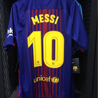 Jersey Original FC Barcelona Home - Nameset Messi 2017-18
