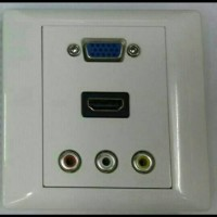 FACEPLATE HDMI VGA RCA AV SOKET PANEL STOP KONTAK OUTLET