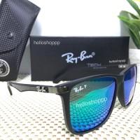 Kacamata Ray Ban 4129 black doff blue green tosca polarized lens