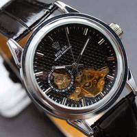 Jual PROMO Rolex skeleton Carera Leather Black plat Black Murah