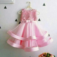 Dress brokat satin tile giovany outs rst (pink) 2-4 thn