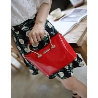 Tas Tote Handbag Wanita Kantor Merah Maroon Wanita Glossy Elegan