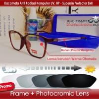 Frame Kacamata + Lensa Photocromic Minus Pria Wanita Baca Korea Bulat