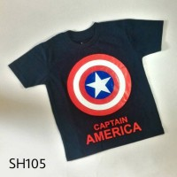 Jual Kaos Anak Pria Cowok Laki Super Hero CAPTAIN AMERICA Dongker - SH105 Murah