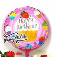 Balon Foil HBD motif gambar Cupcake