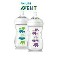 Botol Susu Avent 260ml Deco Motif Elephant Gajah Ungu dan Biru