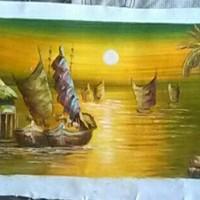 Jual Lukisan Perahu Layar ukuran 30x90 cm Murah