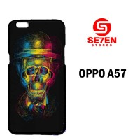 Casing Untuk Oppo A57 Colorful Overlap Skull In Hat Custom Hard Case C