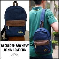 Jual Tas Backpack Punggung Single Shoulder SlingBag Pria Denim Navy Lomberg Murah