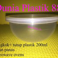 HARGA/PCS MANGKOK + TUTUP plastik cup 200ML tahan panas microwave oven