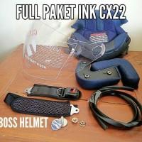 kaca helm INK CX22, busa helm INK CX 22, baut mur sepasang, Tali helm