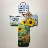Patung Pajangan Salib Dinding His Love Endures Forever