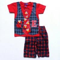 Baju Setelan Anak Laki Cowok London Kids LK Elmo Merah Rompi Kotak