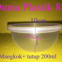 200ML MANGKOK + TUTUP plastik cup tahan panas microwave oven thinwall