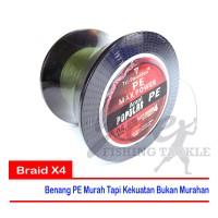 Tri Poseidon PE#0.6 10lb Braid X4 500m - Dark Green - Benang PE