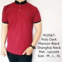 Jual Kaos Berkerah Pria Distro Trendy Dark Maroon Black Shanghai Neck - 567 Murah